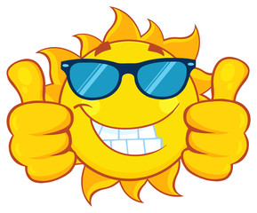 Smiling Sun Cartoon Mascot Character With Sunglasses Giving A Double Thumbs Up