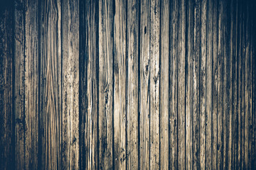 Weathered boardwalk planks of wood with heavy grain and vintage tone