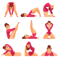 Set of icons girls gymnasts isolated on a white background.