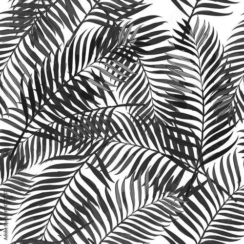Vector Summer Seamless Pattern With Palm Leaves Design For Fashion