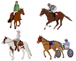 people riding horses illustration - vector