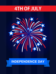 The 4th July, Independence Day in the United States of America. Greetings card. Celebrate it with the firework.