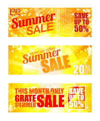 Summer sale banner set. Sunny text and colors