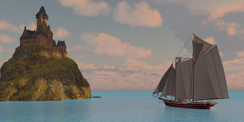 Lake Schooner and Castle - A lake schooner sails to an island that has a castle on a steep cliff on a beautiful day.