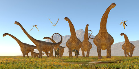 Malawisaurus Dinosaurs - Two Dracorex walk with a herd of Malawisaurus dinosaurs for safety as a flock of Pteranodon reptiles fly over.