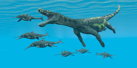 Nothosaurus attacks Shonisaurus - A carnivorous reptile attacks smaller marine dinosaurs in a Cretaceous ocean.