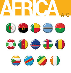 Vector set of 14 bottle cap flags of Africa (A-C). Algeria, Angola, Benin, Botswana, Burkina Faso, Burundi, Cameroon, Cape Verde, Central African, Chad, Comoros, Congo (Dem Rep), Congo, Cote d´Ivoire.