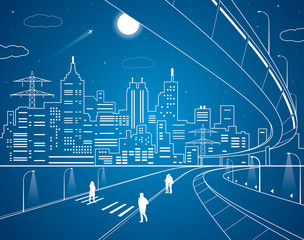 Neon city, lines town, vector design art
