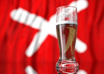 a glass of beer in front a red flag with x white. 3D illustration rendering.