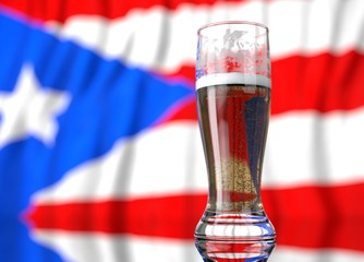 a glass of beer in front a Puerto rican. flag. 3D illustration rendering.
