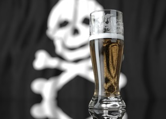 a glass of beer in front a pirate flag. 3D illustration rendering.