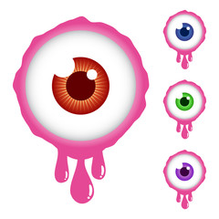 Collection of Scary Eyeball Cartoon