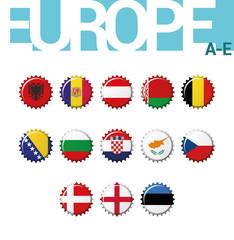Vector set of 13 bottle cap flags of Europe (A-E). Set 1 of 4. Albania, Andorra, Austria, Belarus, Belgium, Bosnia and Herzegovina, Bulgaria, Croatia, Cyprus, Czech Rep, Denmark, England, Estonia.