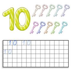 Number ten with ten keys