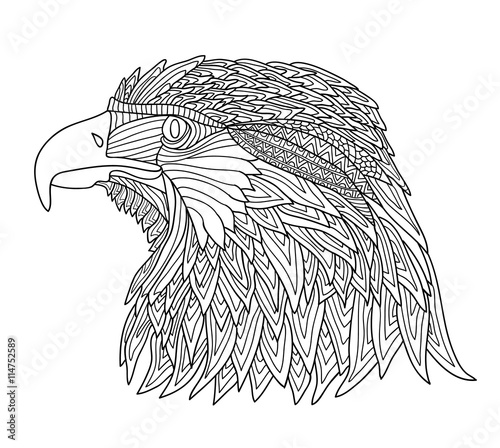 Coloring Book for Adults and children. Brutal eagle with zentangle ...