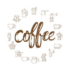 Coffee - hand drawn lettering phrase, isolated on the white background with coffee icons circle. Fun brush ink inscription for photo overlays, typography greeting card or print, flyer, poster design.