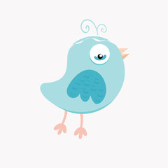 Cute blue bird in pastel colors.