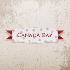 Canada Day greeting Emblem with Ribbon