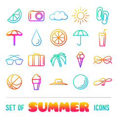 Vacation themed icons with thin lines and gradient
