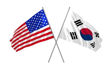 3d illustration of USA and South Korea flags waving in the wind