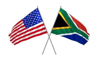 3d illustration of USA and South Africa flags waving in the wind