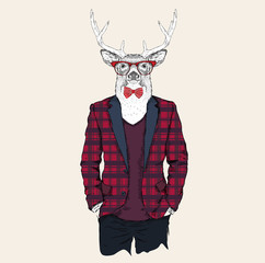 Deer hipster dressed up in jacket, pants and sweater. Vector illustration