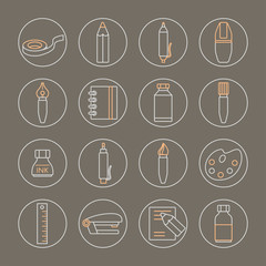 Collection of line style stationery icons on grey background