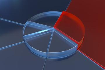 glass pie chart 3d rendering finance background