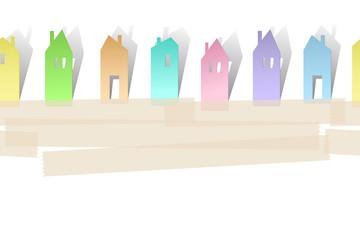 Горизонтальный бесшовный фон с изображением стилизованных домиков, вырезанных из бумажных стикеров с местом для текста.