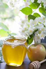 Apple and honey, traditional food of jewish New Year - Rosh Hashanah with blooming branch and flowers of jasmine on black stone board