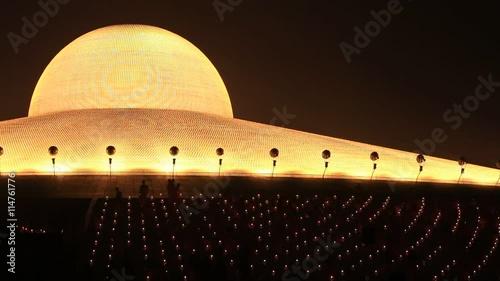 Bangkok Thailand Night View Of The Wat Phra Dhammakaya During