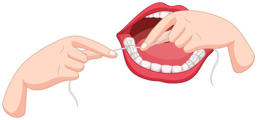 Process of flossing teeth