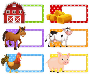 Labels with different farm animals