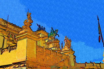 Rome Italy art illustration