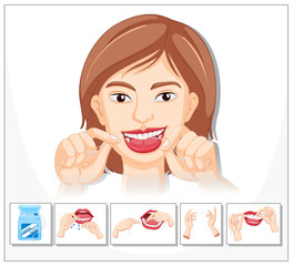 Woman showing how to floss