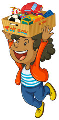 Boy holding box of toys on his head