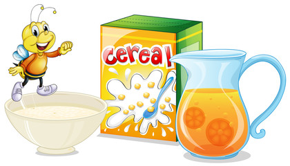 Cereal and orange juice for breakfast