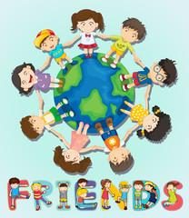 Boys and girls standing around the world