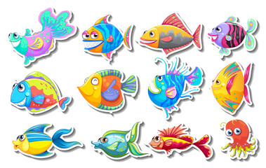 Sticker set with fancy fish