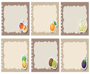 Square labels in gray with fruits