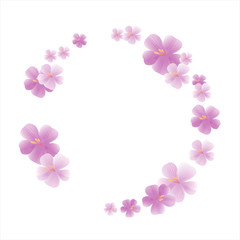 Flowers design. Flowers background. Spring frame with flowers. Sakura blossoms. Cherry blossom isolated on White background. Vector