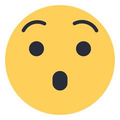 Hushed face - Flat Emoticon design | Emojilicious