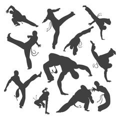 Isolated black and white silhouettes capoeira dancer Isolated on white. illustration set for design