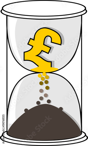Pound Sterling Currency Symbol In The Glasshour Stock Image And