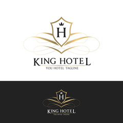 King Hotel logo, Brand identity for hotel and resort. Design with crest and H letter symbol