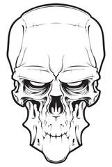 Human cartoon evil skull  isolated on white background