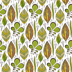 Vector seamless pattern with ethnic leaves ornament. Seamless design for textile fabric packaging