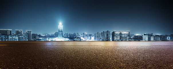 Fotomurales - empty street with modern buildings in hangzhou west lake culture