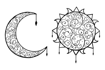 Decorative doodle, sun and moon with  isolated vector illustration.