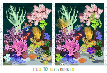 Funny marine animals in sea. Find ten differences